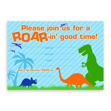 Dinosaur Party LARGE Invitations - 20 Invitations + 20 Envelopes (Halloween Movie Party Invitation Wording)