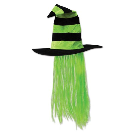 Pack of 6 Lime Green and Black Halloween Witch Hat with Hair](Famous Groups Of 6 For Halloween)
