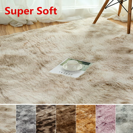 Washable Super Soft Indoor Modern Shag Area Silky Smooth Fur Rugs Fluffy Rugs Anti-Skid Shaggy Area Rug Dining Room Home Bedroom Carpet Floor Mat ()