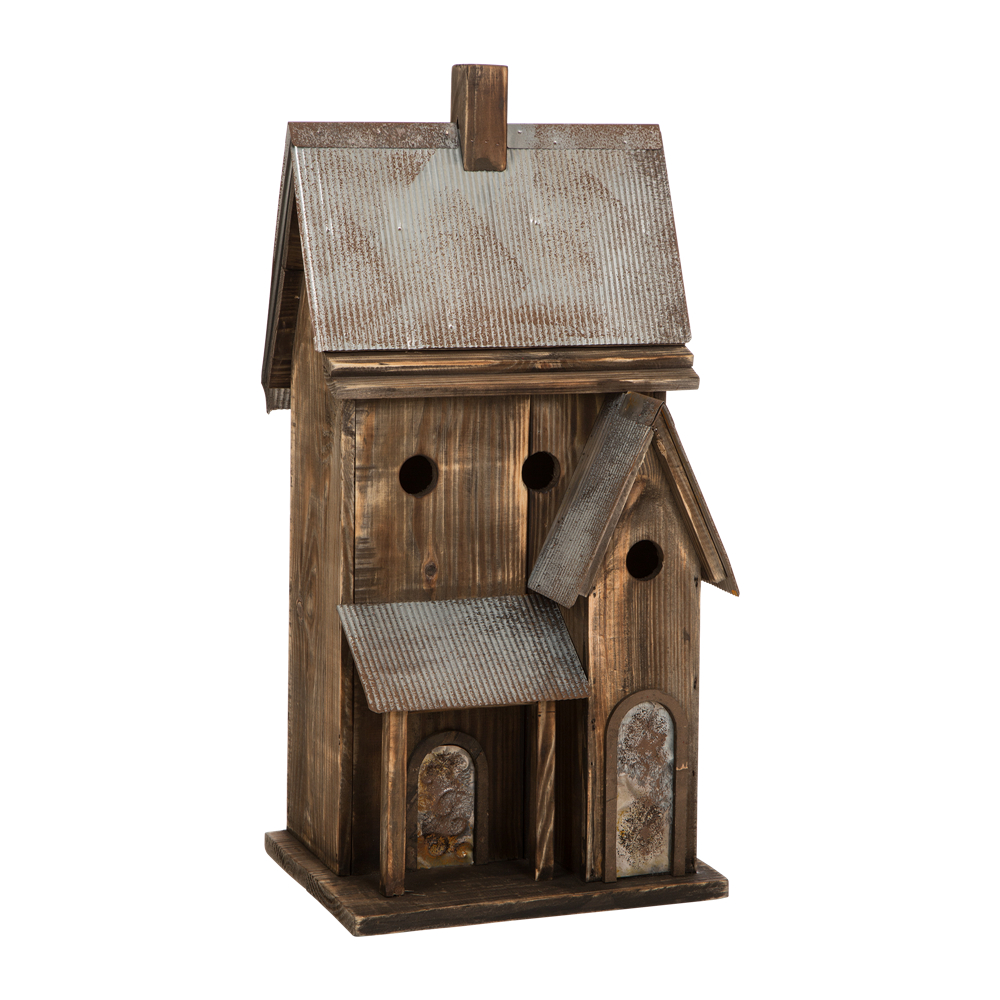 "Glitzhome Rustic Wood  Birdhouse Bird Friendly Home Decor, 24.02""H"