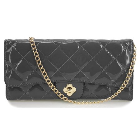 Beaute Bags Collection Classic Quilted High Gloss Vegan Patent Leather Wallet on a Chain Clutch and Shoulder Handbag -