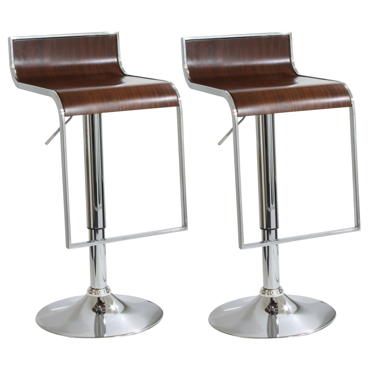 AmeriHome BS2317SET 2 Piece Bent Wood Bar Stool Set