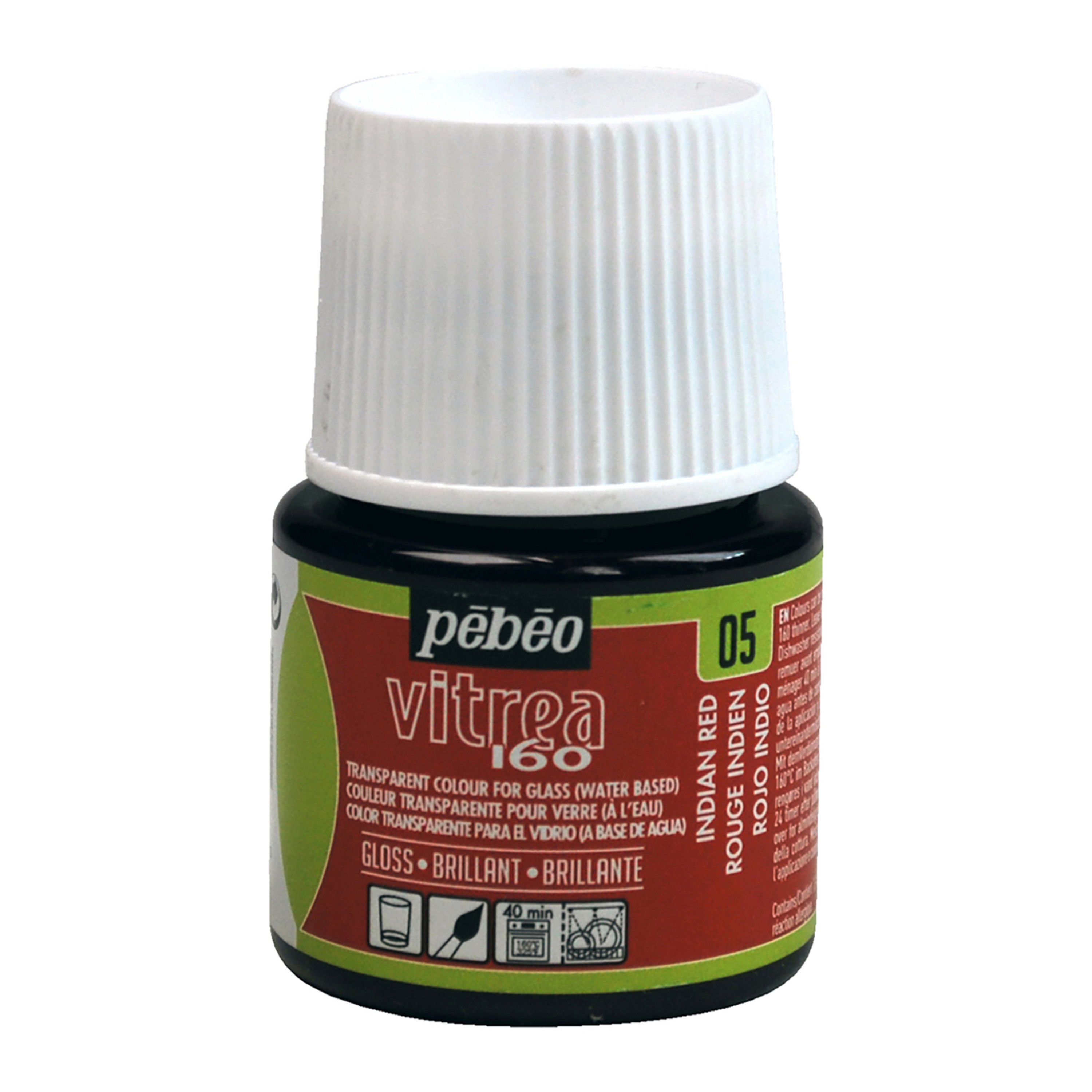 Pebeo Vitrea 160 Glass Paint, 45ml, Glossy, Indian Red