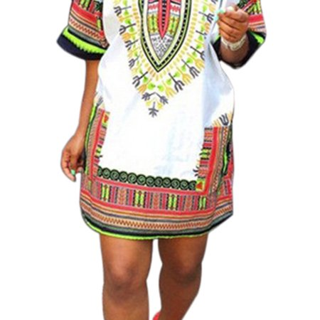 Womens African Printed Boho Gypsy Festival Party Dress ()