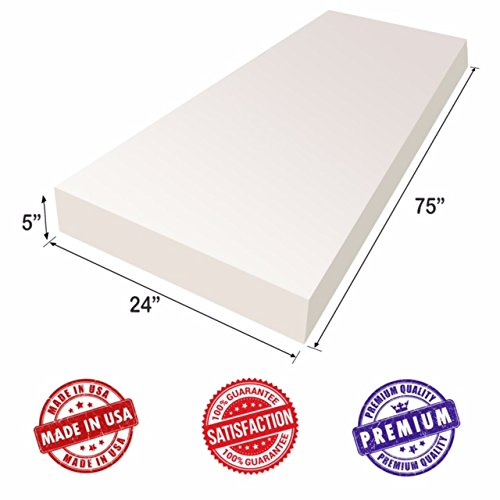 "Upholstery Foam Cushion Sheet- 5""x24""x75""-Regular Support Density-Premium Luxury Quality- Good for Sofa Cushion, Mattresses, Wheelchair, Poker Table, and Much More- Dream Solutions USA"