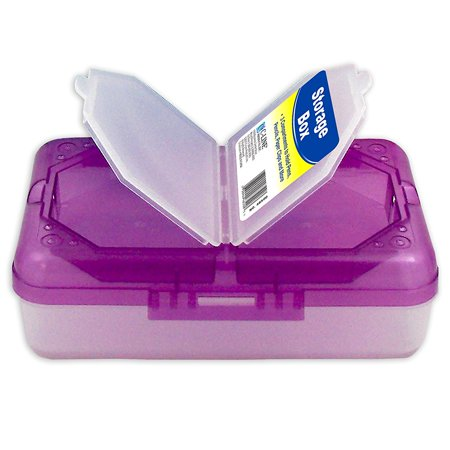 Great Clips - Poly 3-Compartment Storage Box with Snap Lid, 1 Storage Box, Color May Vary (48500), Snap lid box great for pencils, paper clips, and more By C-Line