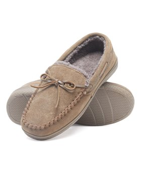 01853ca8f Product Image Heat Edge Mens Memory Foam Suede Slip On Indoor Outdoor Moccasin  Slipper Shoe