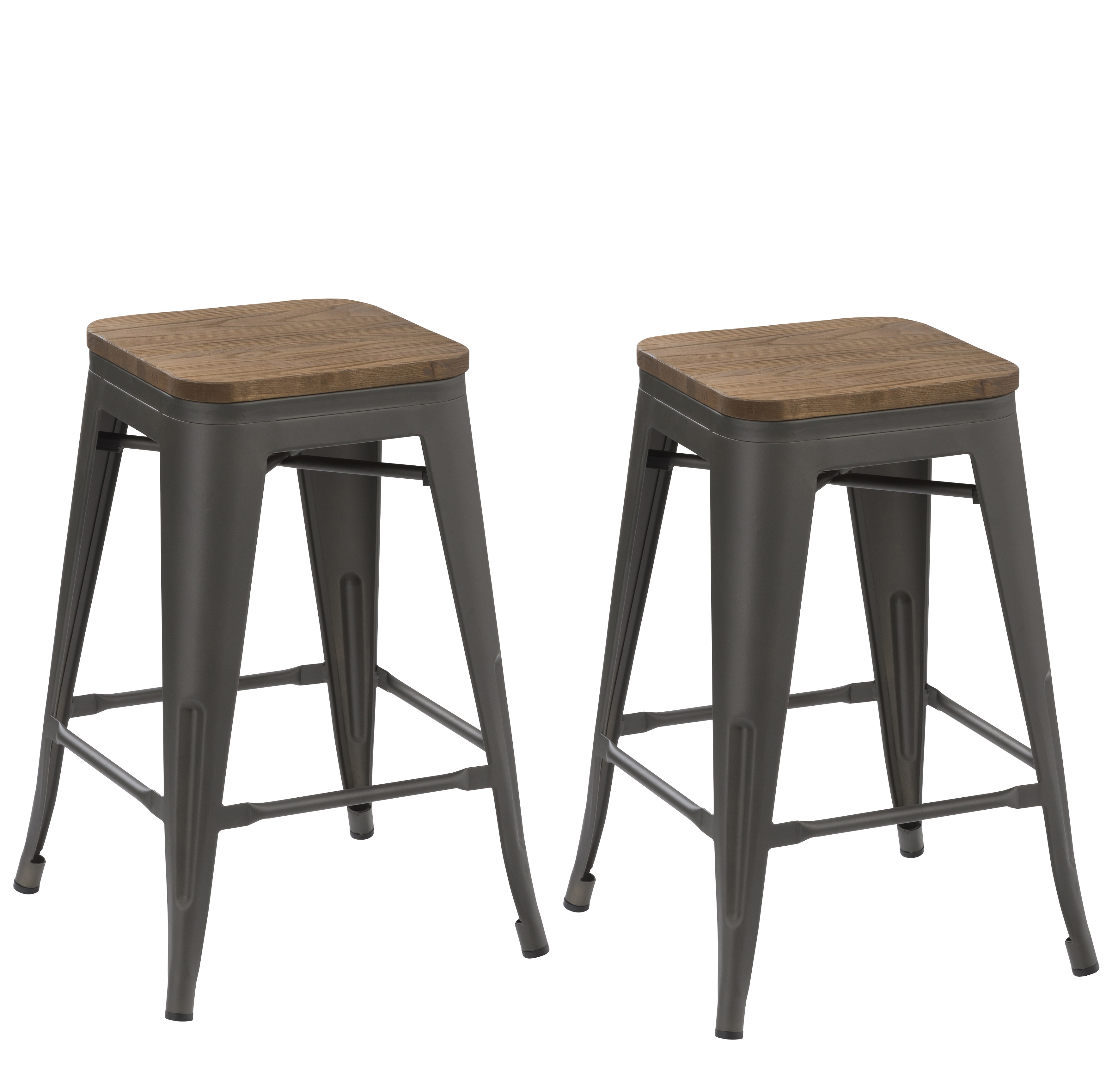 BTEXPERT�� 24-inch Industrial   Antique Distressed Gunmetal stackable Dining Metal Bar Stools Handmade Wood top seat (Set of Two)