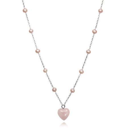 Natural Pink Cultured Freshwater Pearl and Rose Quartz Heart Charm Chain Link Station Necklace,18