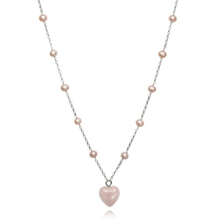 June Birthstone Heart Charm - Natural Pink Cultured Freshwater Pearl and Rose Quartz Heart Charm Chain Link Station Necklace,18