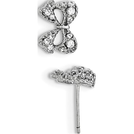925 Sterling Silver Rhodium-plated CZ Micro pav? Bow Post (13x10mm) Earrings - image 2 of 2