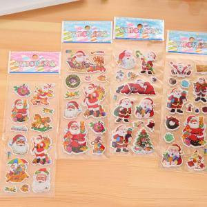Fancyleo 4PCS Christmas Holiday Bubble Sticker Assortment Gingerbread Man, Santa, Snowflake, Christmas Tree, Candy Cane, Snowman