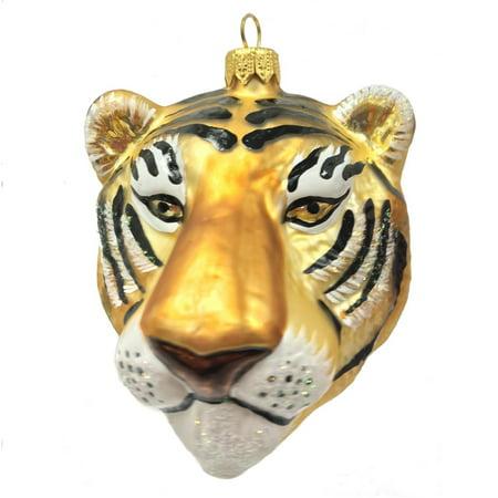 Tiger Head Figural Polish Glass Christmas Ornament Wild Cat Animal Decoration (Holiday Figurals)