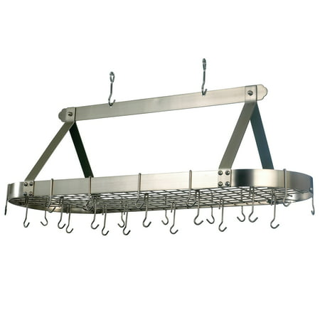 Satin Nickel Oval Hanging Pot Rack With Grid Amp 24 Hooks