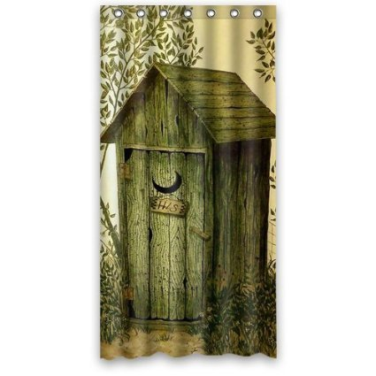 GreenDecor Mier M Outhouse Waterproof Shower Curtain Set With Hooks Bathroom Accessories Size 66x72 Inches