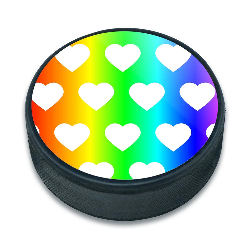 Sweet Heart Pattern Rainbow Ice Hockey Puck