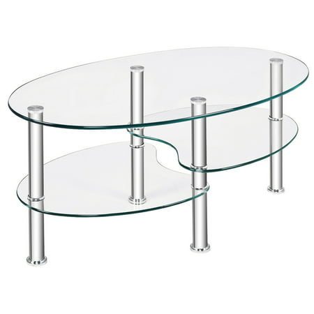 Costway Tempered Glass Oval Side Coffee Table Shelf Chrome Base Living Room Clear ()