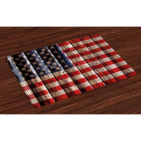 4th of July Placemats Set of 4 Rustic Backdrop with American Flag Design Wooden Boards Design, Washable Fabric Place Mats for Dining Room Kitchen Table Decor,White Navy Blue Vermilion, by Ambesonne