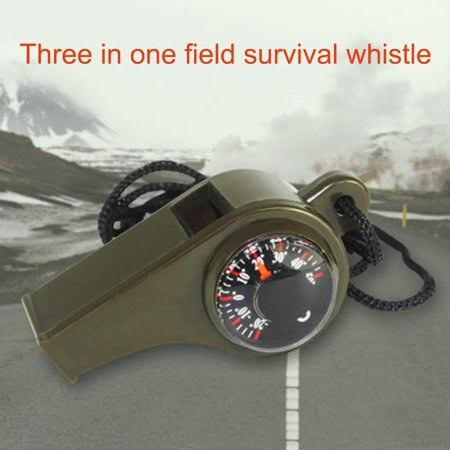 OUTAD Plastic 3 in1 Whistle Compass Thermometer For Outdoor Emergency Gear Camping olive green - image 8 of 8