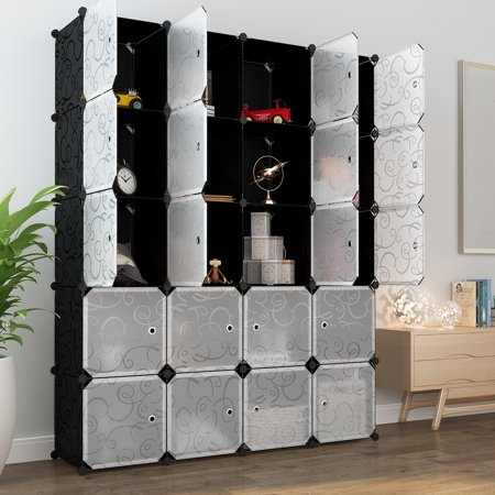 Closet Clothes Rod (LANGRIA 20-Cube Organizer Stackable Plastic Cube Storage Shelves Design Multifunctional Modular Closet Cabinet with Hanging Rod for Clothes Shoes)