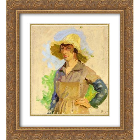 Frederic Bazille 2x Matted 20x24 Gold Ornate Framed Art Print 'Grape Picker in a Yellow Hat'