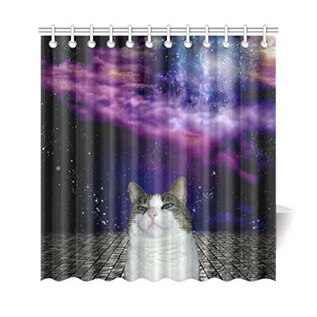 GCKG Purple Universe Nebula Clouds Space Shower Curtain, Funny Cat Cute Kitten Polyester Fabric Shower Curtain Bathroom Sets with Hooks 66x72 Inches - image 3 de 3