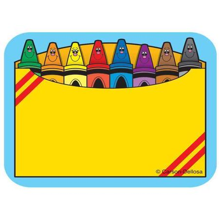 Crayon Box Name Tags These convenient, self-adhesive Crayon Box name tags are ideal for labels, reminders, calendar and homework notes, and more! Each pack features 40 name tags, measuring 3  x 2.5?. Available in a variety of prints, name tags are fun addition to any classroom!