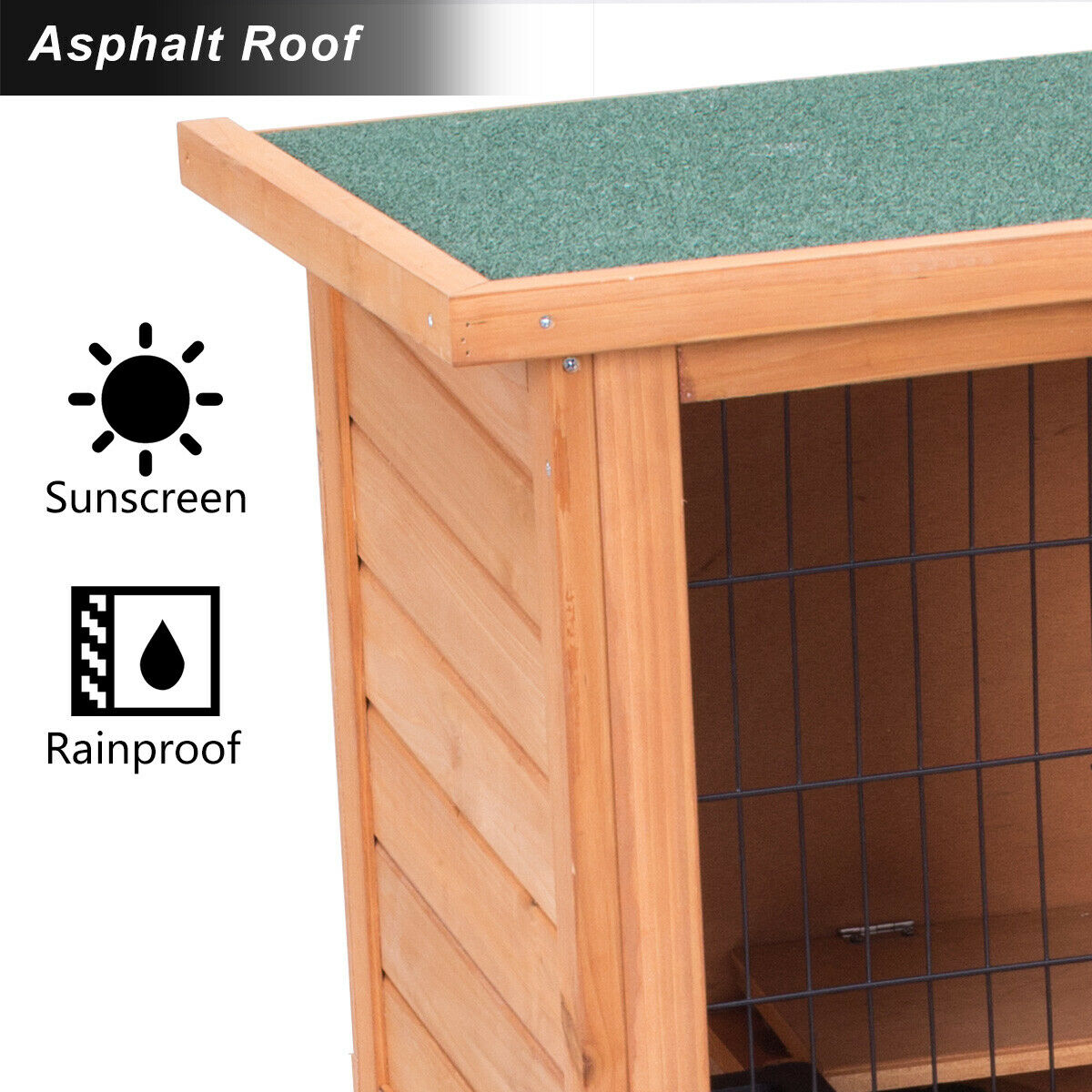Gymax Large Chicken Coop Rabbit Hutch Garden Backyard Wood Hen House Poultry Cage - image 1 of 10
