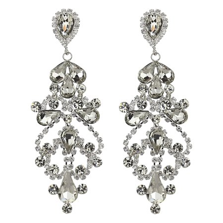 - Cubic Zirconia Victorian Teardrop Earrings Clear Crystals 3 Inches