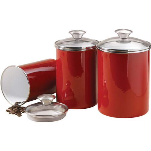Tramontina 3-Piece Covered Porcelain Canister Set, Red