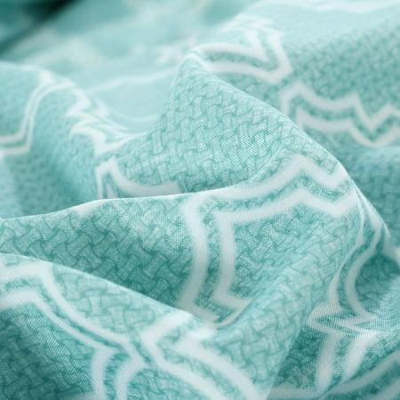 Brushed Velvet Lattice Pattern Bedding Set 2 Pillowcases Super King Green - image 3 of 8
