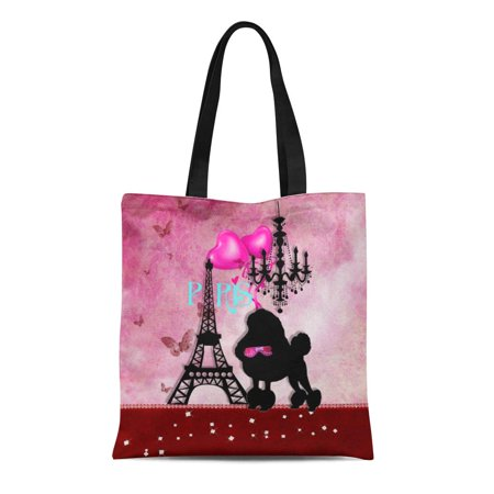 ASHLEIGH Canvas Tote Bag Pink Dog French Paris Girly Poodle Eiffel Tower Damask Reusable Handbag Shoulder Grocery Shopping Bags
