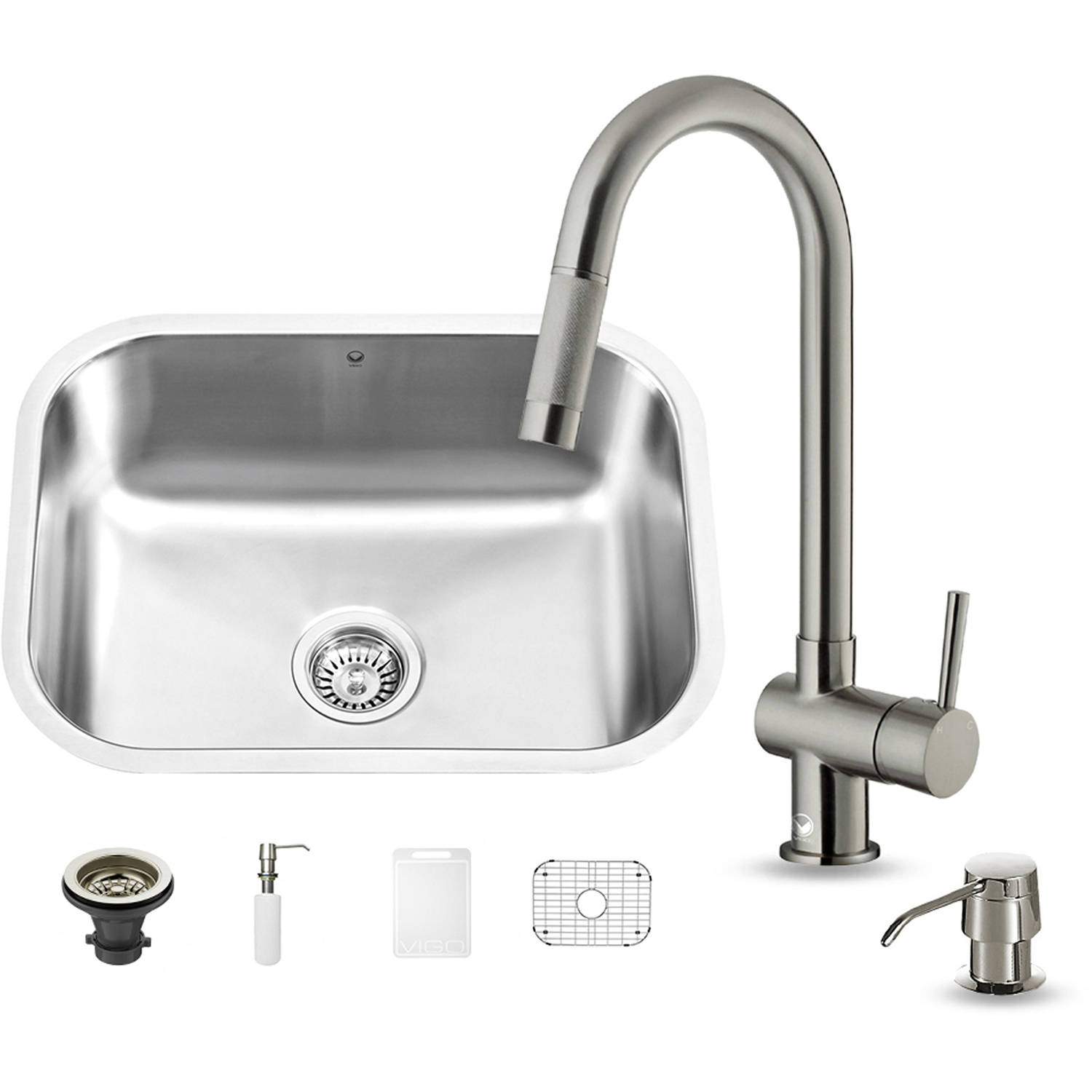 "Vigo All-in-One 23"" Undermount Stainless Steel Kitchen Sink and Faucet Set"