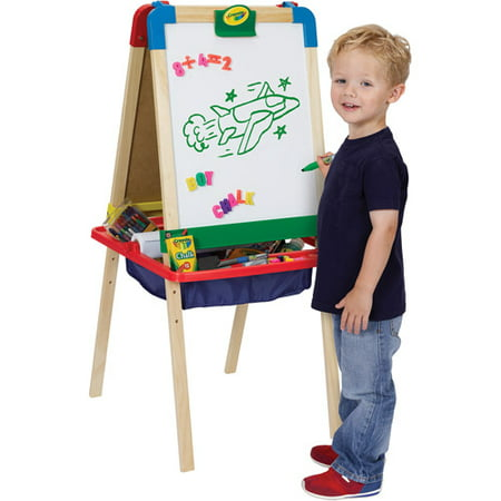 crayola 3 in 1 magnetic wood easel with dry erase chalkboard and