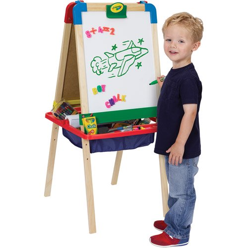 Crayola 3 In 1 Magnetic Wood Easel With Dry Erase Chalkboard And Painting Surfaces