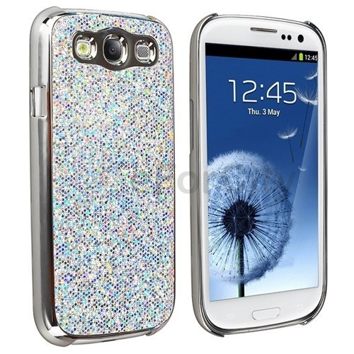Silver Luxury Bling Glitter Coated Case Cover for Samsung...