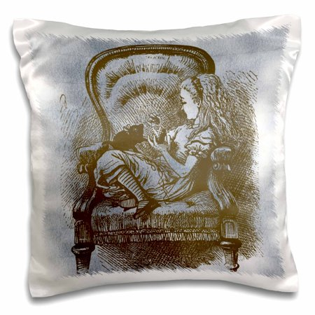 3dRose Alice in Chair with Cat Alice in Wonderland Vintage, Pillow Case, 16 by 16-inch