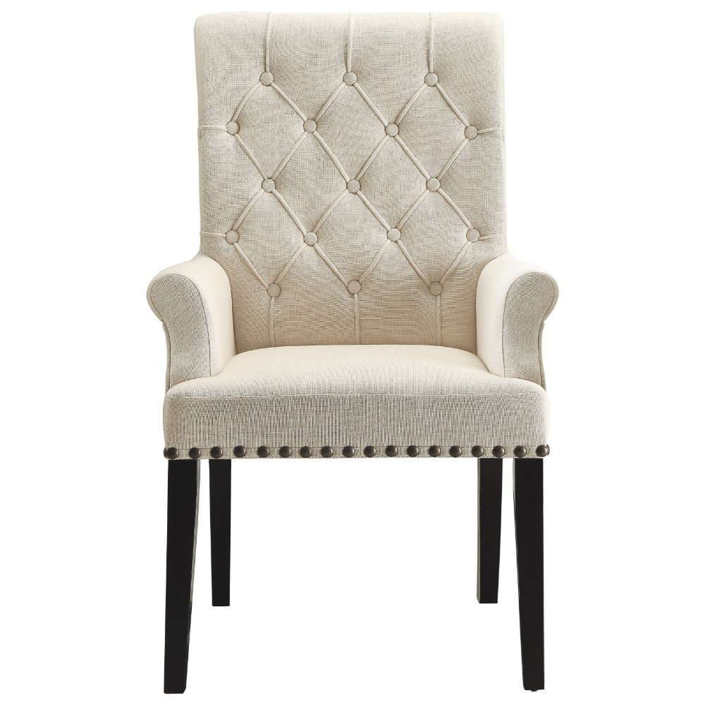 homeroots cream black wood fabric diamond tufted upholstered dining chair cream smokey. Black Bedroom Furniture Sets. Home Design Ideas