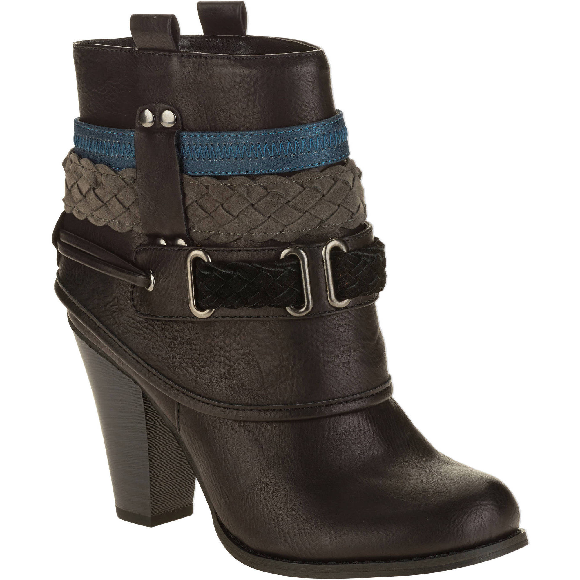 MOMO Women's Heeled Ankle Boot with Interwoven Belt Design