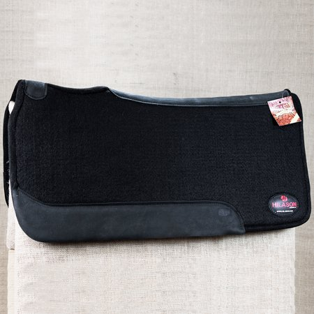 FP600F- HILASON WESTERN WOOL FELT SADDLE PAD HORSE W/ GENUINE WEAR LEATHER BLACK