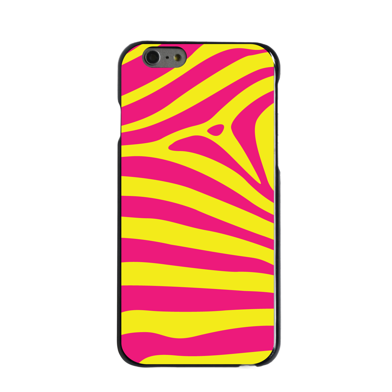 "CUSTOM Black Hard Plastic Snap-On Case for Apple iPhone 7 / iPhone 8 (4.7"" Screen) - Yellow Hot Pink Zebra Skin Stripes"