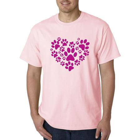 - Trendy USA 730 - Unisex T-Shirt Heart Paws Pets Cat Dog Love Adopt 4XL Light Pink