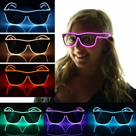 LED Sun Glasses Light Up Wire Fashion Neon Luminous Club Party Frame Eye Wear (Yellow Eye Glasses)
