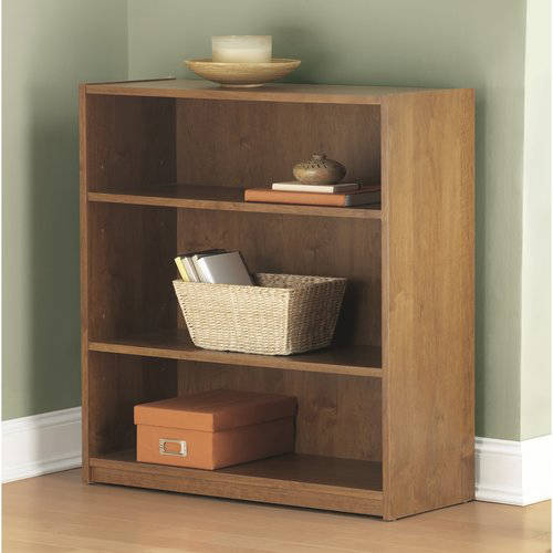 Mainstays 3 Shelf Standard Wood Bookcase Multiple Colors