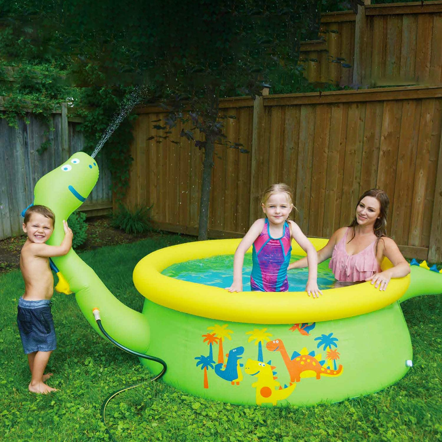 Kiddie Pool for Age 3+ Size 69 X 24.5 Dinosaur Pool Sprinkler Water Toys Lunvon Inflatable Swimming Pool for Kids