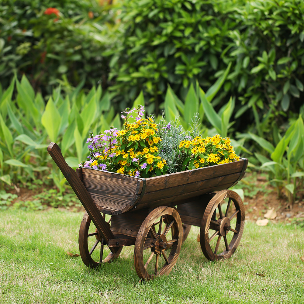 IKayaa Garden Wood Wagon Planter Pot W/ Wheels Flower Planting Box Home  Outdoor Decoration Patio