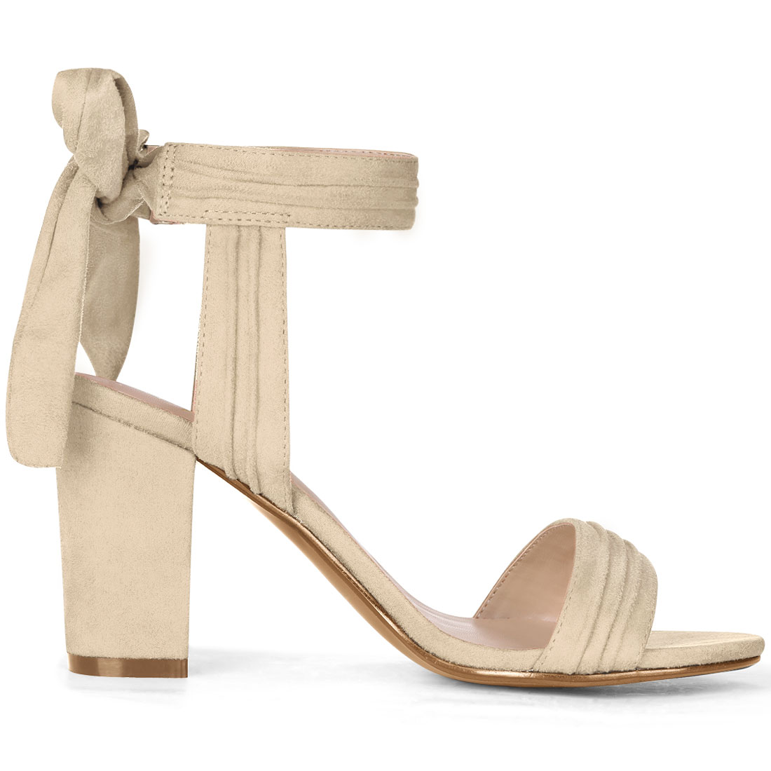 Unique Bargains Women's Ankle Tie Open Toe Block Heel Sandals Beige (Size 9.5) - image 3 of 7