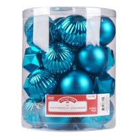 Holiday Time Teal Shatterproof Ornaments, 26 Count