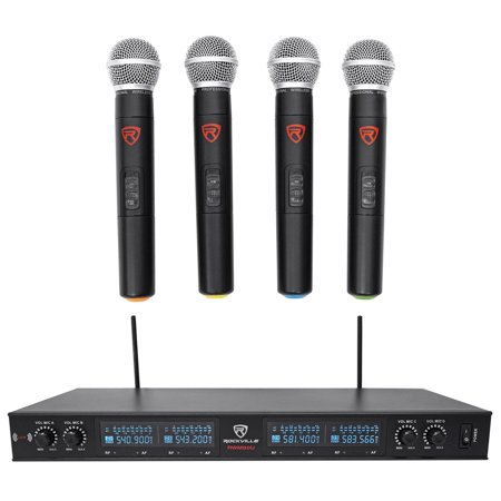 Rockville RWM90U Quad UHF Handheld Wireless Microphone System w/LCD+Metal Casing Camera Uhf Wireless Microphone System