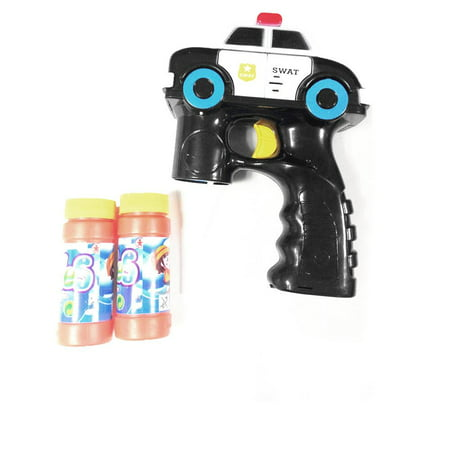 Lightahead Police Car Light Up Bubble Gun Blaster Shooter with Music, includes 2 Bottles of Solution, Great Gift for Kids - Bubble Bottle